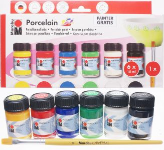 Zestaw farb do porcelany Porcelain Starter set Marabu 6x15 ml + pędzelek